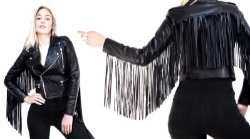 black leather fringe motorcycle cropped jacket